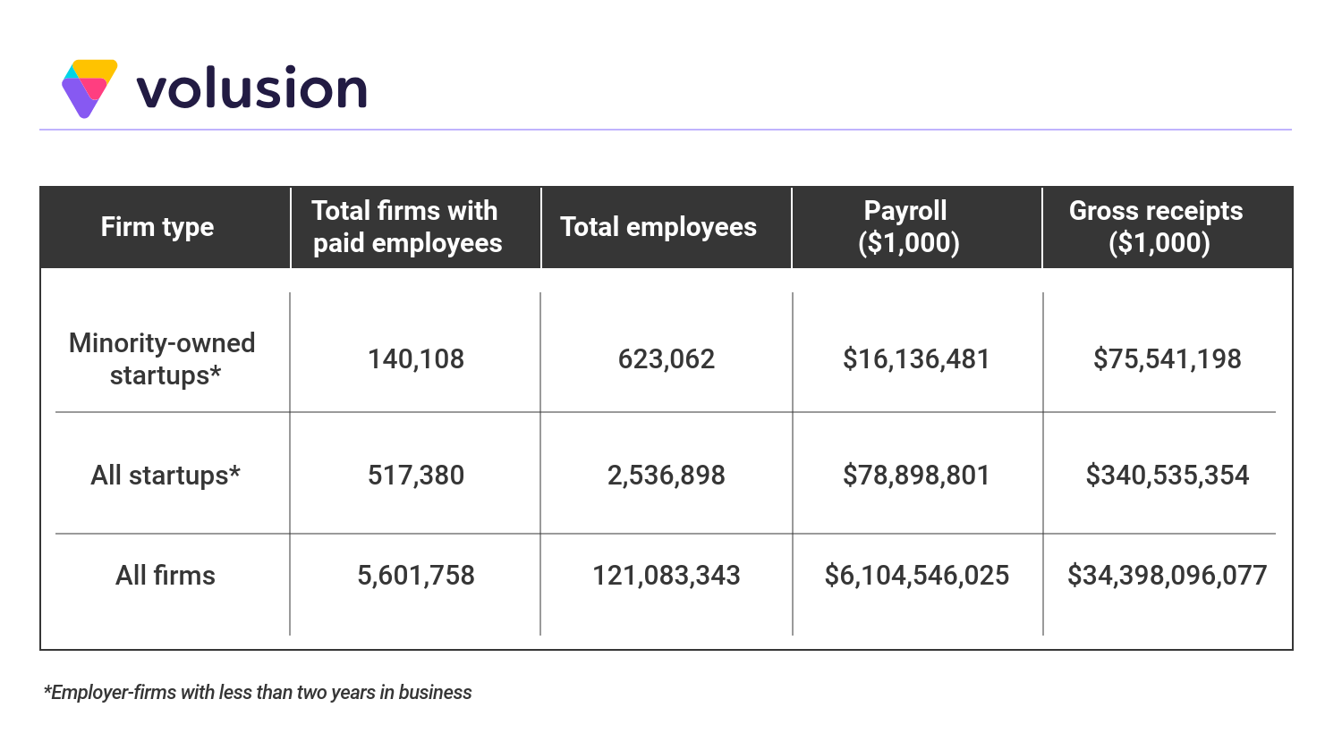 Data table showing the number of minority owned startups, as well as total employees, payroll amount and gross receipts