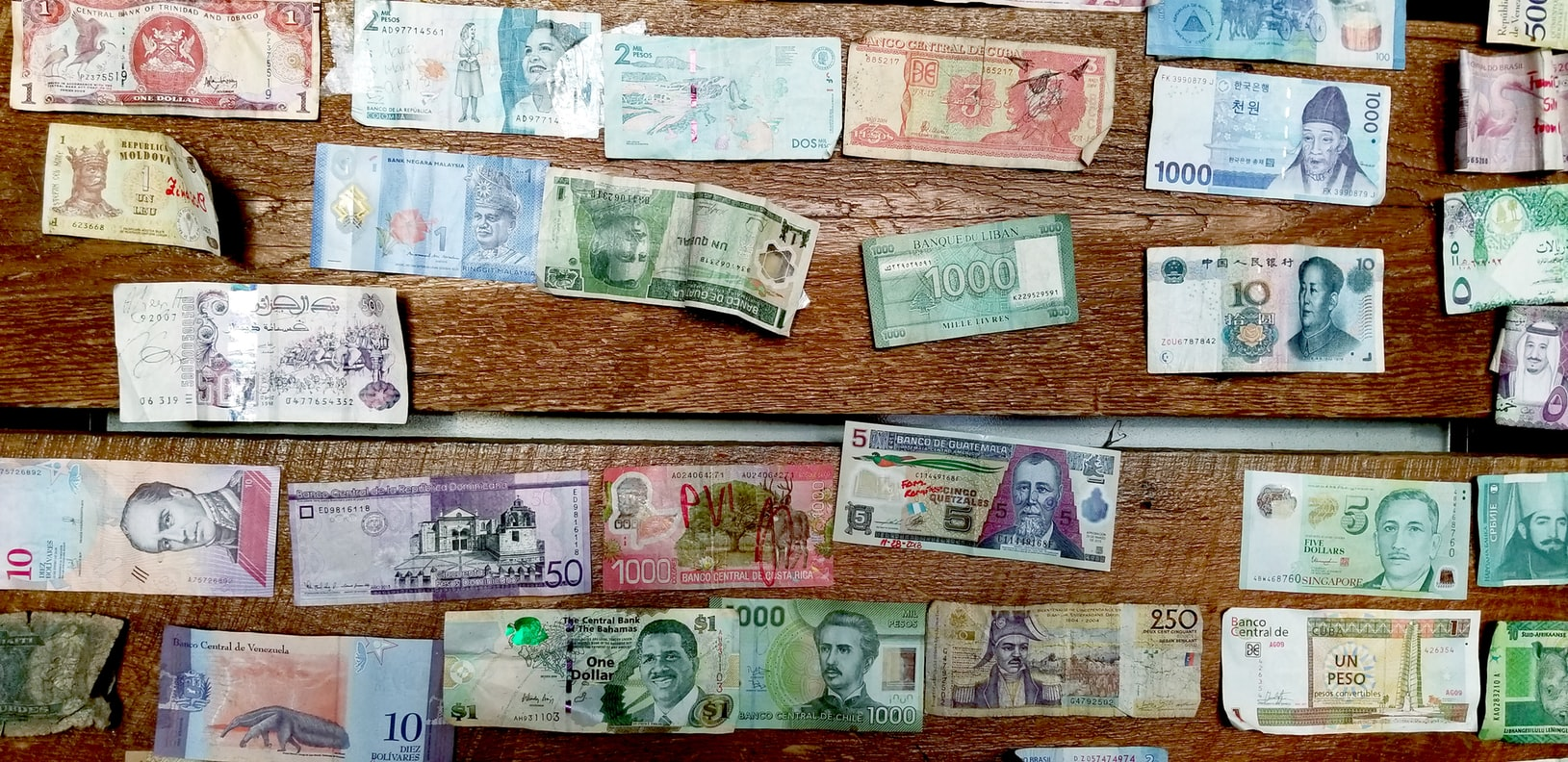 Various types of currencies