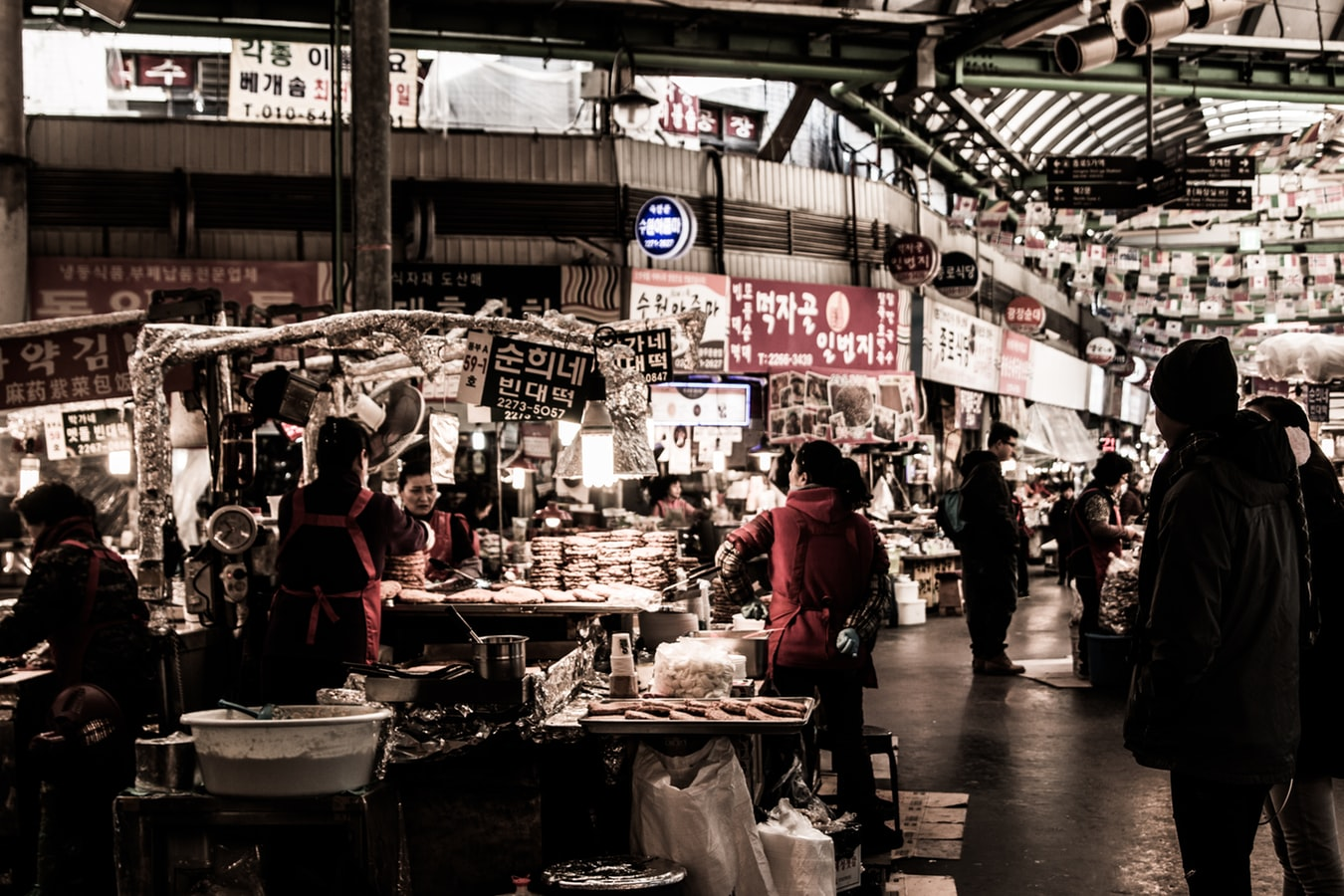 Picture of overseas marketplace with diverse goods