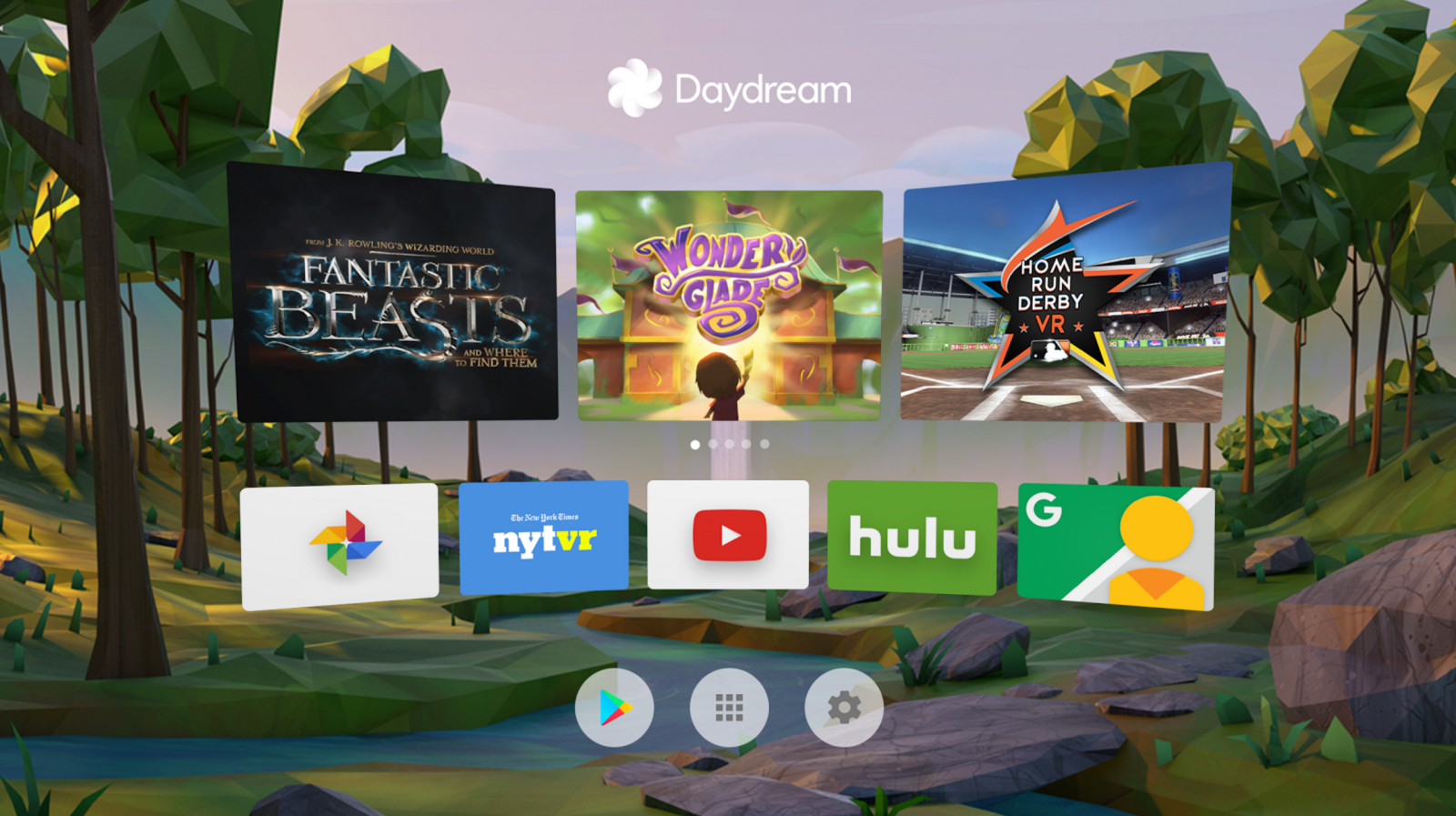 Daydream System UI Home screen with suggested content, app tiles, Play store and settings.