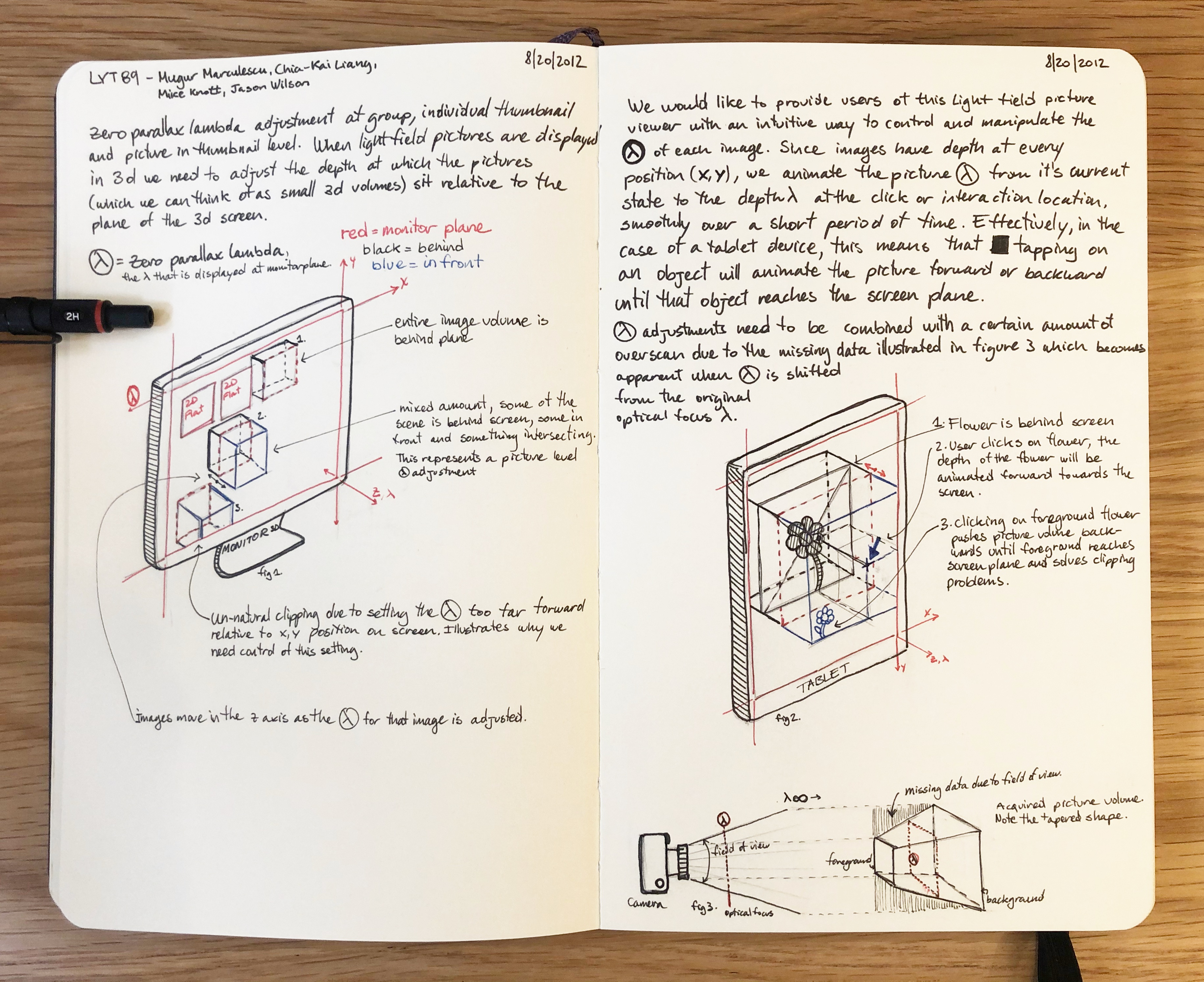 Lytro player UX process sketches for patent application.