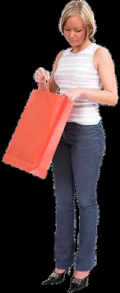 покупатель, покупки, пакет, домохозяйка, девушка, красный, супермаркет, магазин, женщина