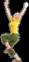 радость, успех, руки вверх, зеленые штаны, желтая кофта