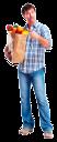 покупатель, продуктовая корзина, продукты питания, пакет с продуктами, покупки, еда, фрукты, овощи, супермаркет, магазин, мужчина, голубой, шопинг
