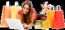 покупки, шопинг, бумажный пакет, пакет с подарками, заказ, интернет магазин, супермаркет, магазин, улыбка, радость, девушка лежит