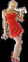 девушка в красном платье, красный, блондинка, молодая девушка