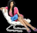 кресло, белое кожаное кресло, девушка сидит, улыбка, отдых
