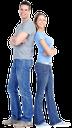 семья, улыбка, голубые джинсы, девушка в джинсах