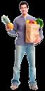 покупатель, продуктовая корзина, продукты питания, пакет с продуктами, покупки, еда, ананас, фрукты, овощи, супермаркет, магазин, мужчина, радость, шопинг