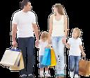 семья, дети, покупки, бумажный пакет, шопинг, радость, мужчина, женщина, супермаркет, магазин, домохозяйка