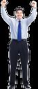 улыбка, радость, успех, руки вверх, победа, победитель, мужчина в галстуке, черные брюки