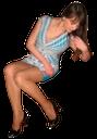 девушка сидит, голубое платье, декольте
