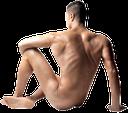 голый человек, человек сидит