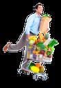 покупки, продукты, продукты питания, корзина для покупок, овощи, фрукты, бумажный пакет, покупатель, шопинг, тележка, торговая тележка