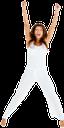 девушка в белом, радость, успех, победа, прыжок, руки вверх, брюнетка