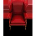 red couch, chair, красное кресло