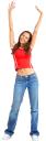 радость, счастье, руки вверх, девушка в джинсах, голубые джинсы, красная кофта