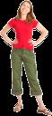 зеленые штаны, красная кофта, улыбка, девушка