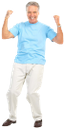 радость, успех, улыбка, удача, голубая футболка, пожилой мужчина