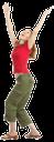 радость, успех, победа, улыбка, руки вверх, зеленые штаны, красная кофта