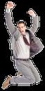 радость, удача, успех, прыжо, человек в костюме, человек в галстуке