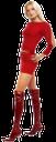 девушка в юбке, красные сапоги, красный