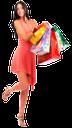 покупки, шопинг, цветные пакеты, бумажный пакет, подарки, девушка в платье, красный, покупатель, улыбка, супермаркет, магазин, торговля