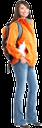 турист, девушка с рюкзаком, поход, оранжевая куртка