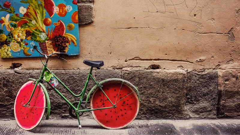 unique bicycle with fruit tyre