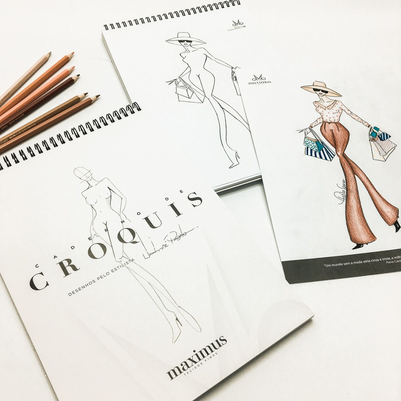 Caderno de desenho croqui de moda Estilista Valmir Pazeto