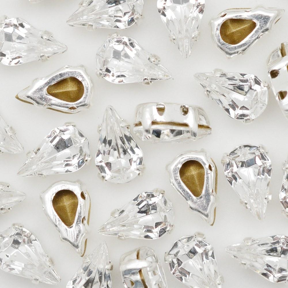 Engrampado Níquel Gota Cristal 10x6mm 144pcs