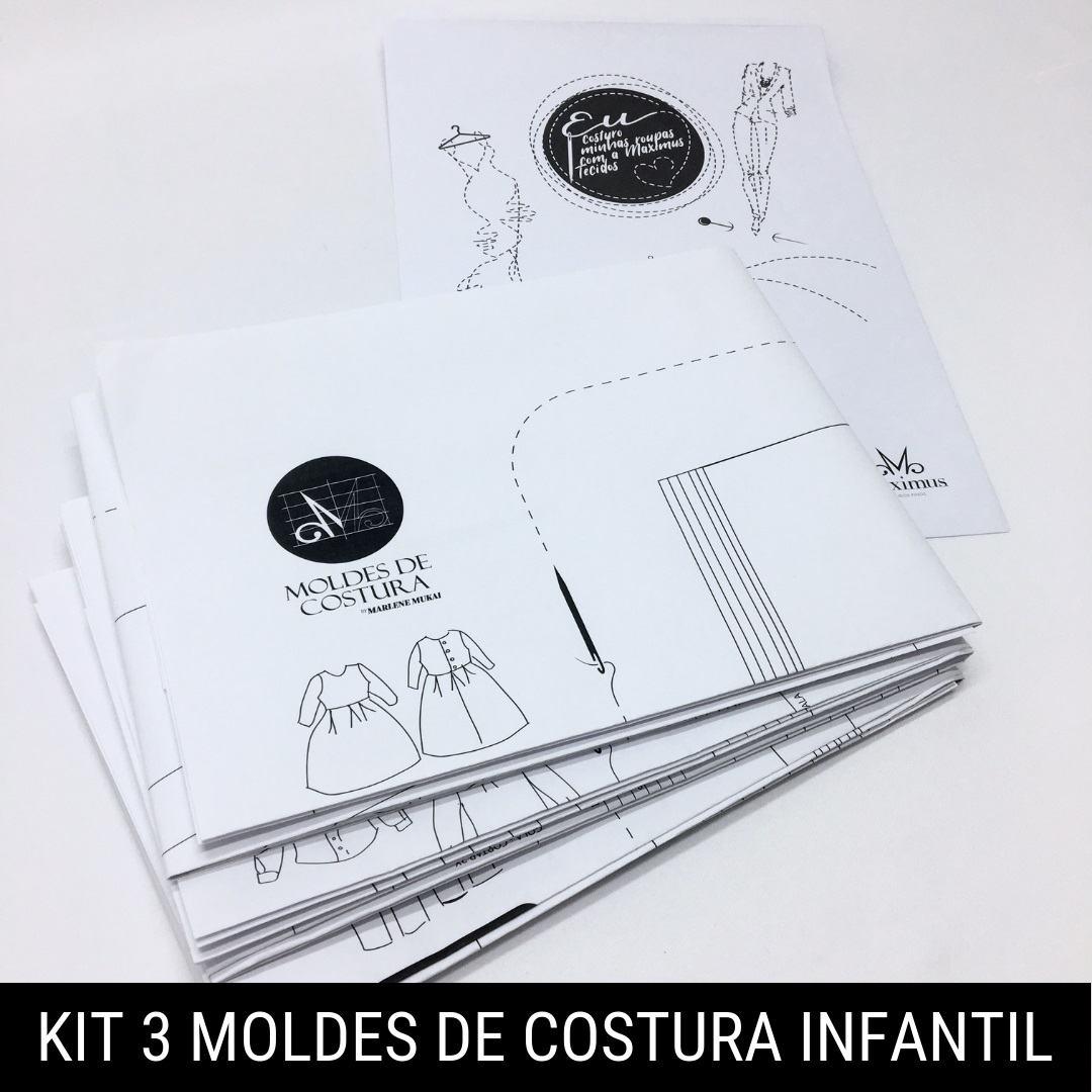 Kit 3 moldes de costura infantil - Marlene Mukai