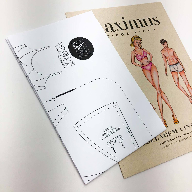 Molde lingerie sutiã com recorte vertical  -by Marlene Mukai
