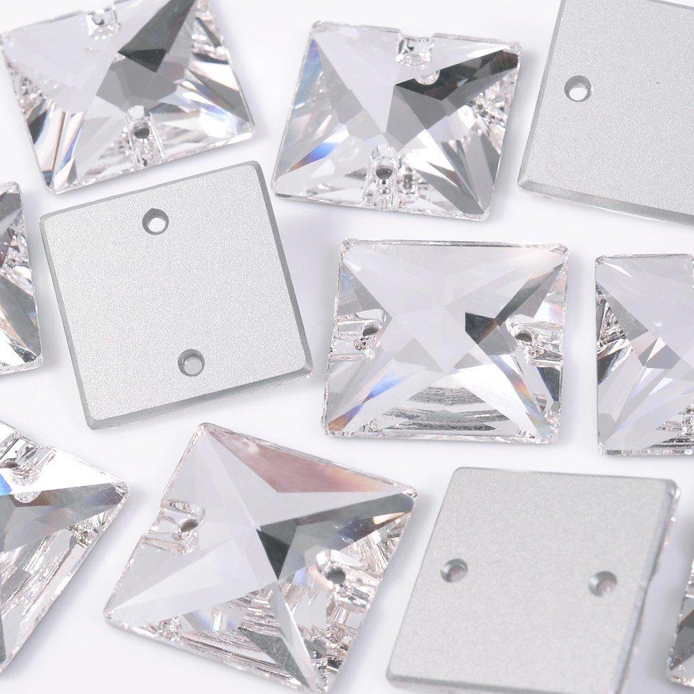 Quadrado Costura 2 Furos Preciosa Cristal 16mm 72pcs
