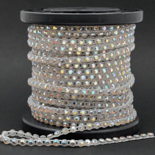 Strass em fio Plástico LDI Cristais® art. 81 por metro Cristal Aurora Boreal em caixa branca (00030 AB)SS 8=2,30mm