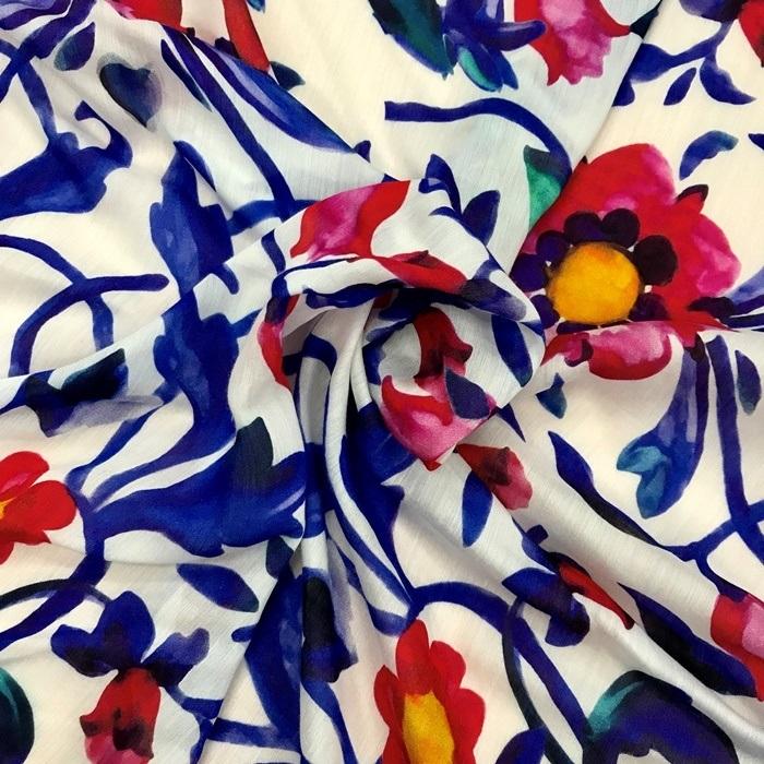 Tecido Algodão com Seda Pura Floral Azul e Vermelho