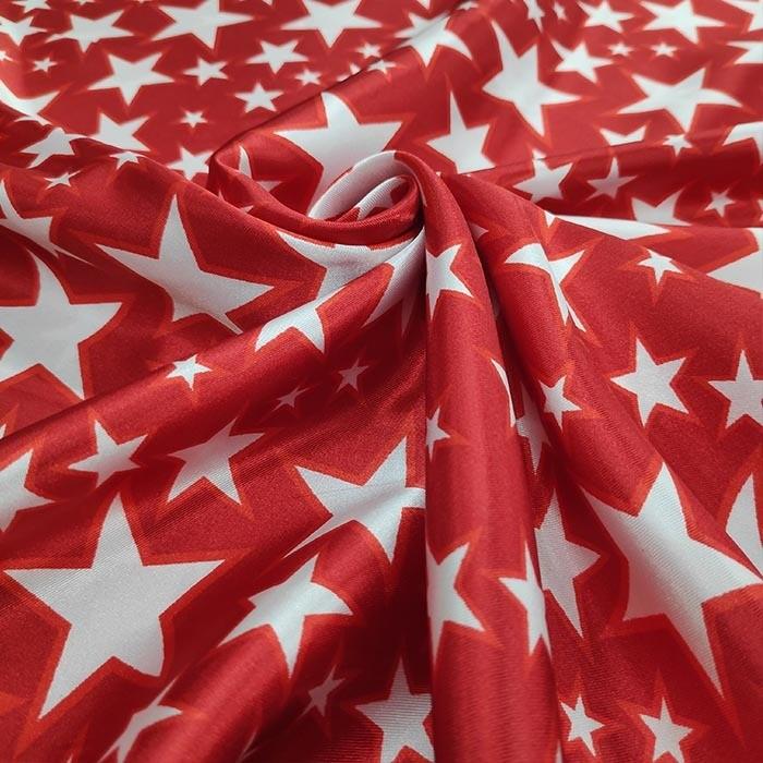 Tecido Cetim Carnaval Vermelho com Estrelas Brancas