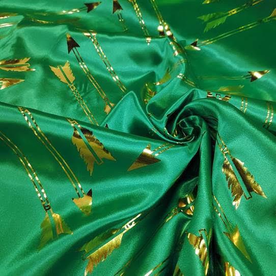 Tecido Cetim Laminado Verde e Dourado