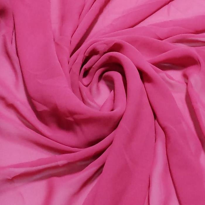 Tecido Chiffon de Seda Pura Rosa Fucsia