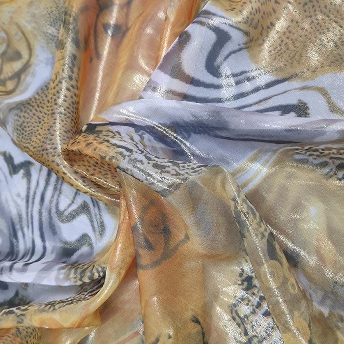 Tecido Crepe Estampa Digital Animal Print Faisão Dourado
