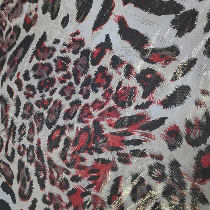 Tecido Crepe Estampa Digital Animal Print Onça Vermelha