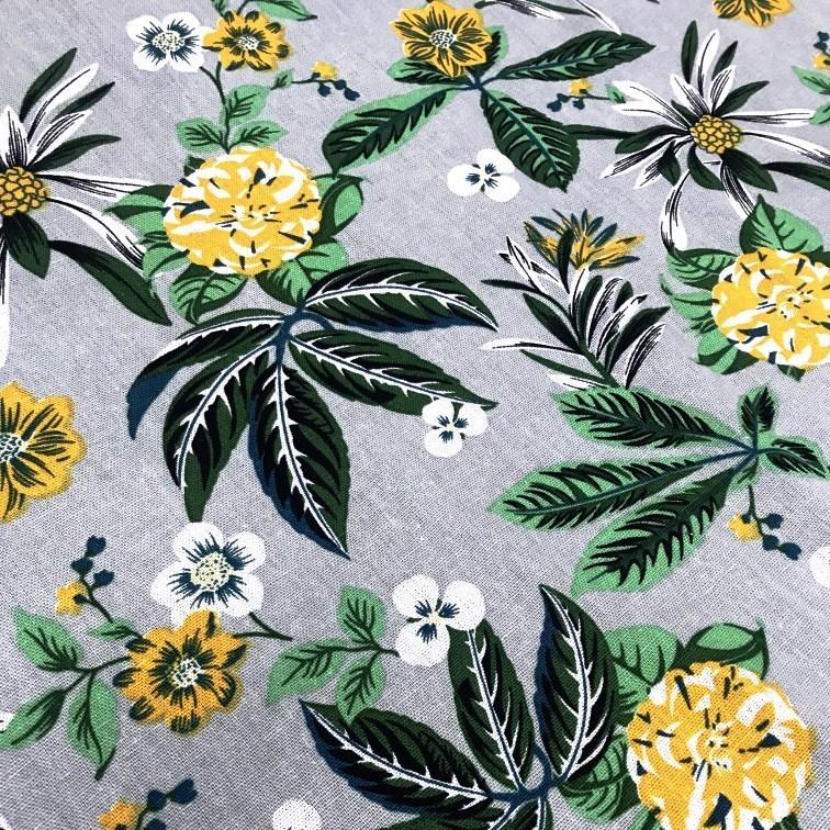 Tecido Linho Estampado Floral Garden