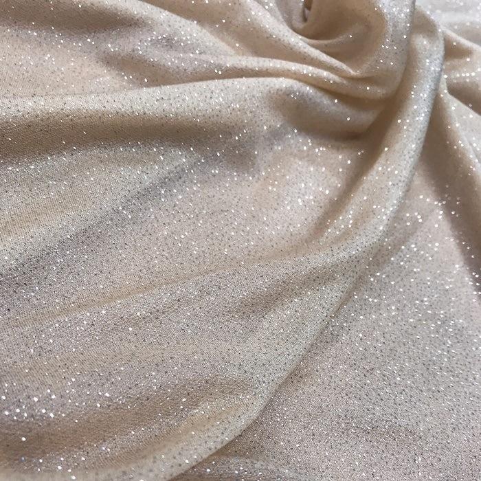 Tecido Malha Nude com Glitter Prateado