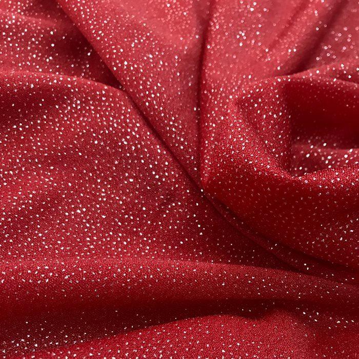Tecido Malha Vermelha com Glitter Prateado