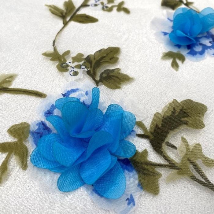 Tecido Organza Estampada com Flores 3D em Musseline Azul