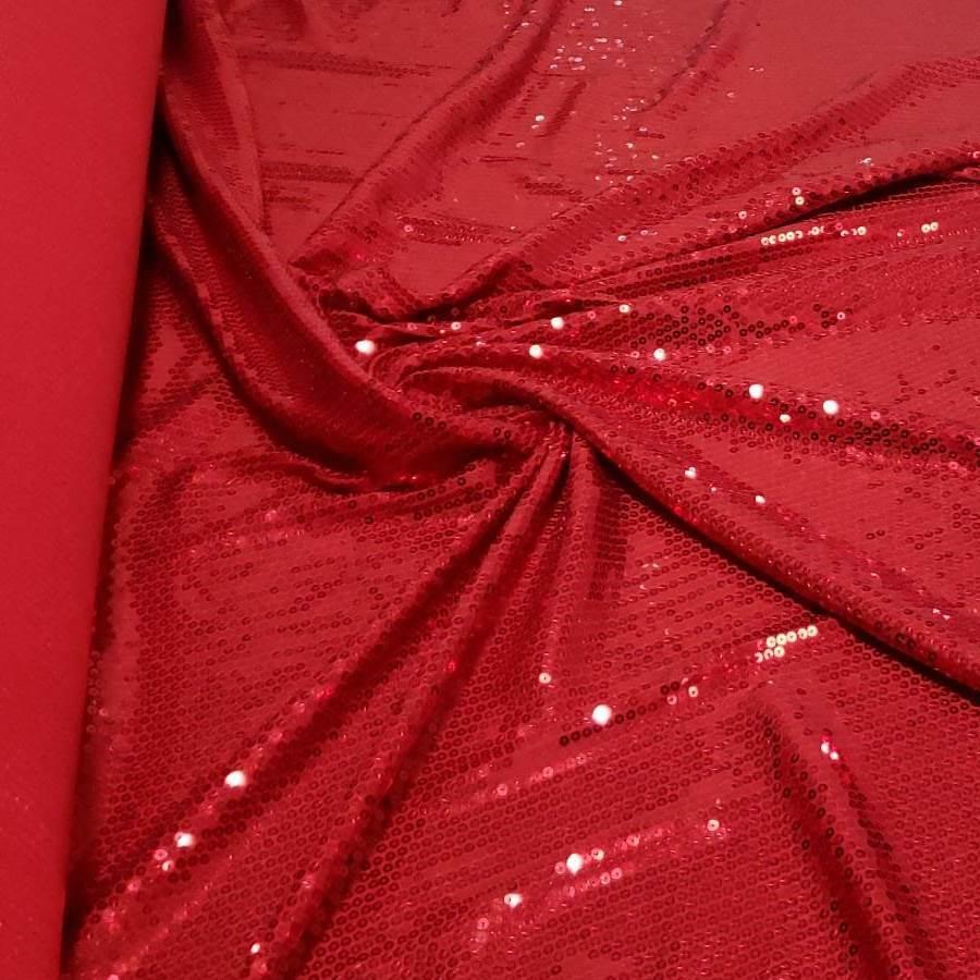 Tecido Paetê Bordado Com Elastano Vermelho
