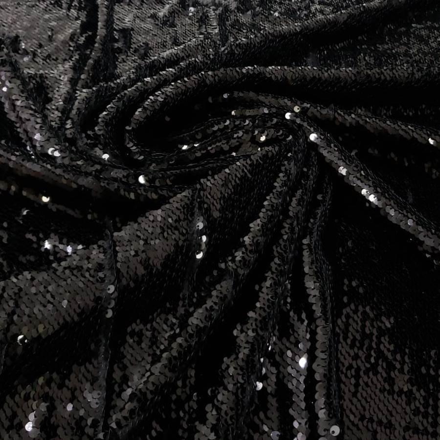 Tecido Paetê Bordado Reversível Preto com Brilho e Preto Fosco