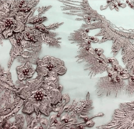 Tecido Tule Bordado Rosé 3D