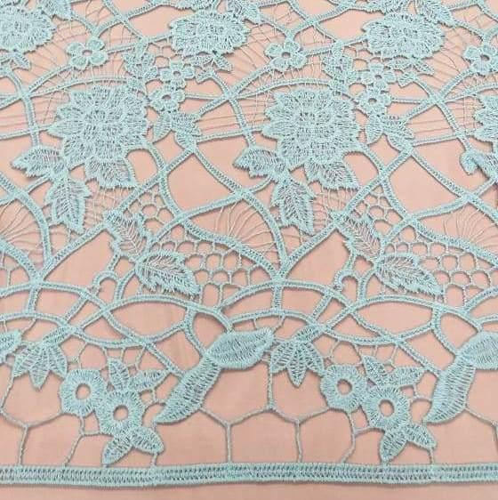 Tecido Renda Guipir Floral Azul