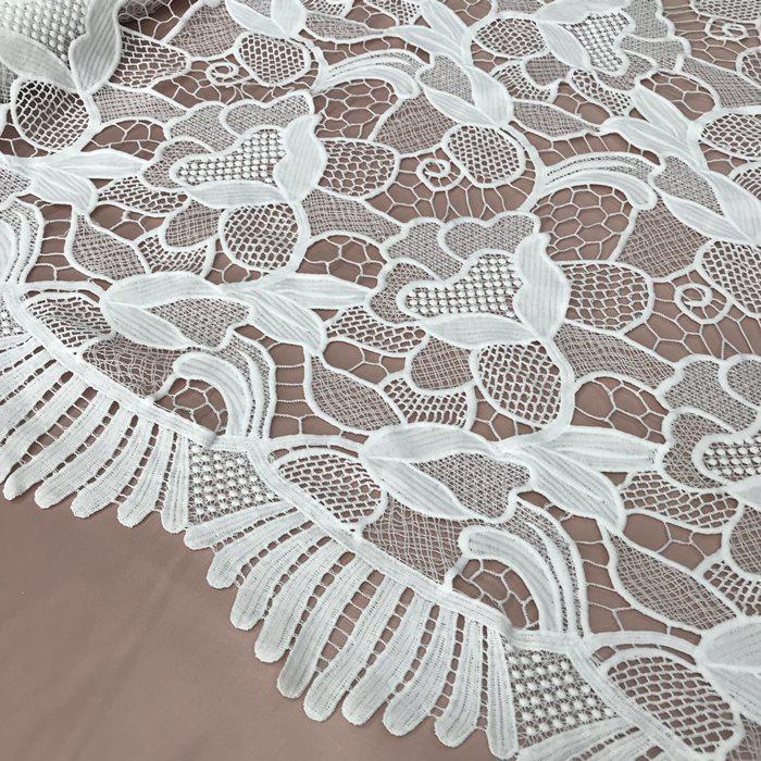 Tecido Renda Guipir Floral Off White